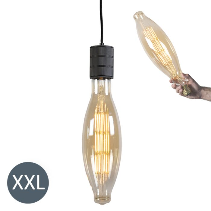Taklampa-'Elips'-Moderna-svart/metall---LED-inkluderat-/-Inomhus
