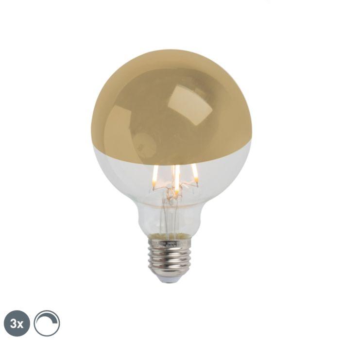Uppsättning-av-3-E27-dimbar-LED-huvudspegel-G95-guld-280lm-2300K