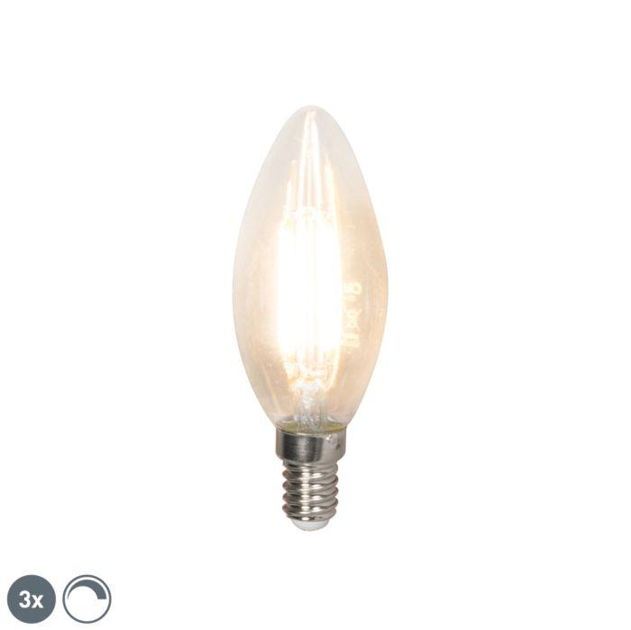 Uppsättning-av-3-LED-glödlampor-E14-240V-3.5W-350lm-B35-dimbar