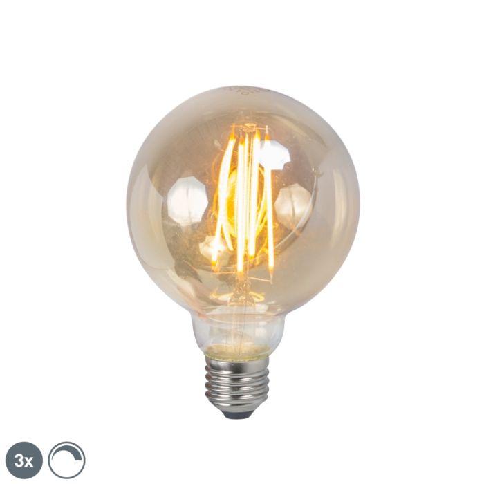 Set-med-3-LED-glödlampa-E27-5W-2200K-G95-rökdämpningsbar