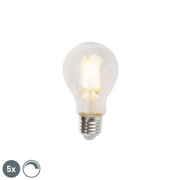 Uppsättning-av-5-E27-dimbara-LED-glödlampor-A60-7W-806lm-2700K