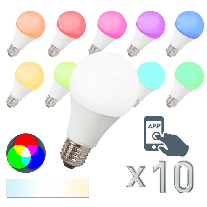 E27-LED-7-Watt-550-Lumen-Varmvitt,-RGB-(valbart)-Dimbar
