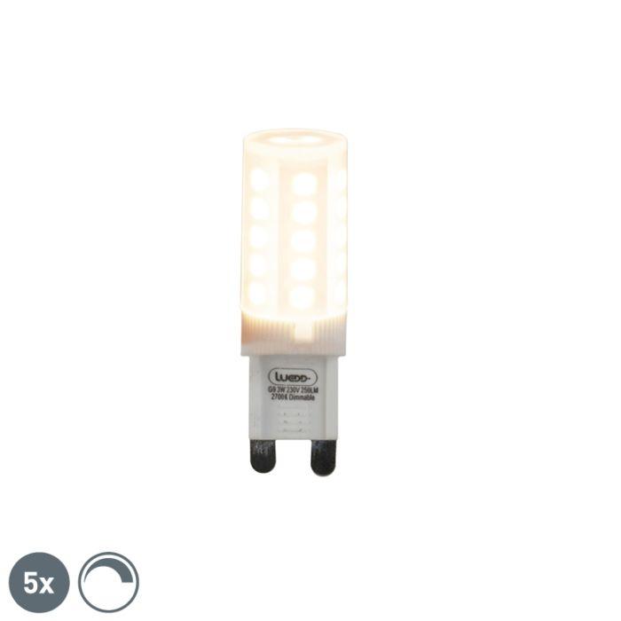 Uppsättning-av-5-G9-dimbara-LED-lampor-3W-280-lm-2700K