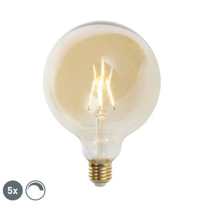 Uppsättning-av-5-E27-dimbara-LED-glödlampor-G125-goldline-2200K