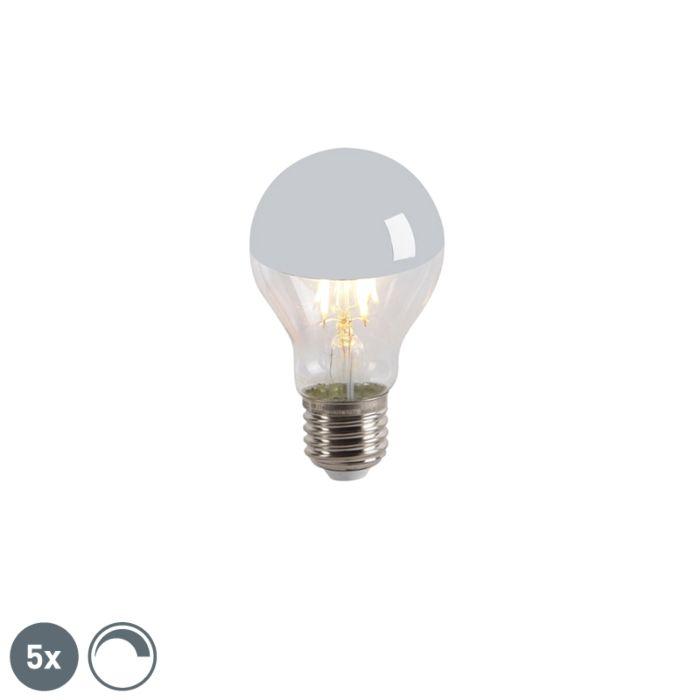 Uppsättning-av-5-LED-glödlampa-huvudspegel-E27-240V-4W-300lm-A60-dimbar