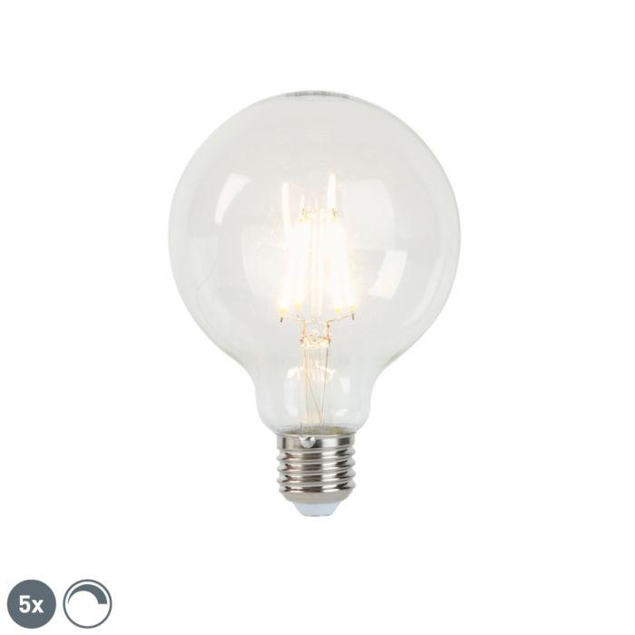 Set-med-5-E27-dimbar-LED-glödlampor-G95-5W-470-lm-2700K