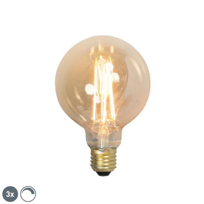 Uppsättning-av-3-E27-dimbara-LED-glödlampor-G95-goldline-2100K