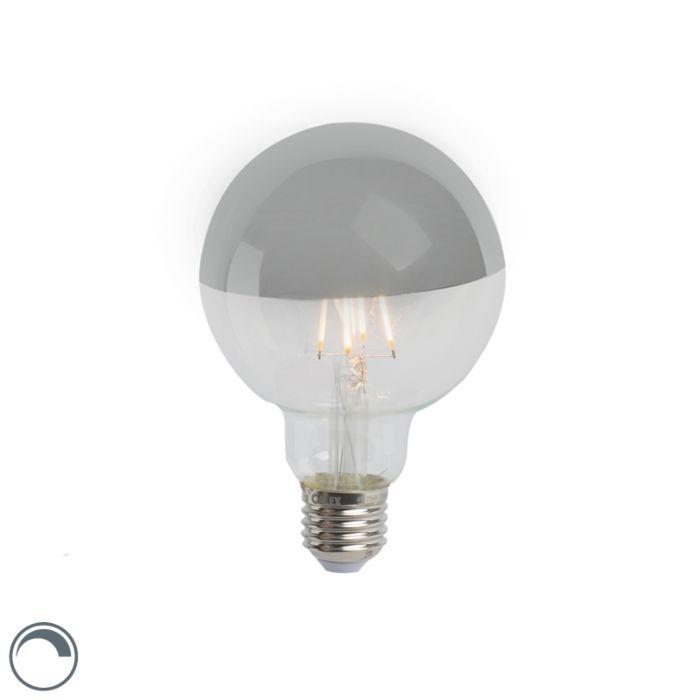 E27-dimbar-LED-glödlampa-huvudspegel-G95-silver-280lm-2300K