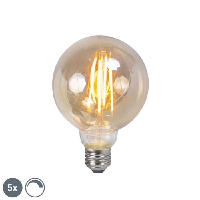 Uppsättning-av-5-E27-dimbar-LED-glödtrådslampa-5W-450lm-2200K