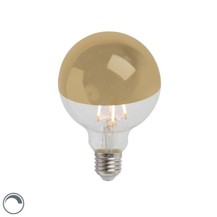 E27-dimbar-LED-glödlampa-huvudspegel-G95-guld-280lm-2300K