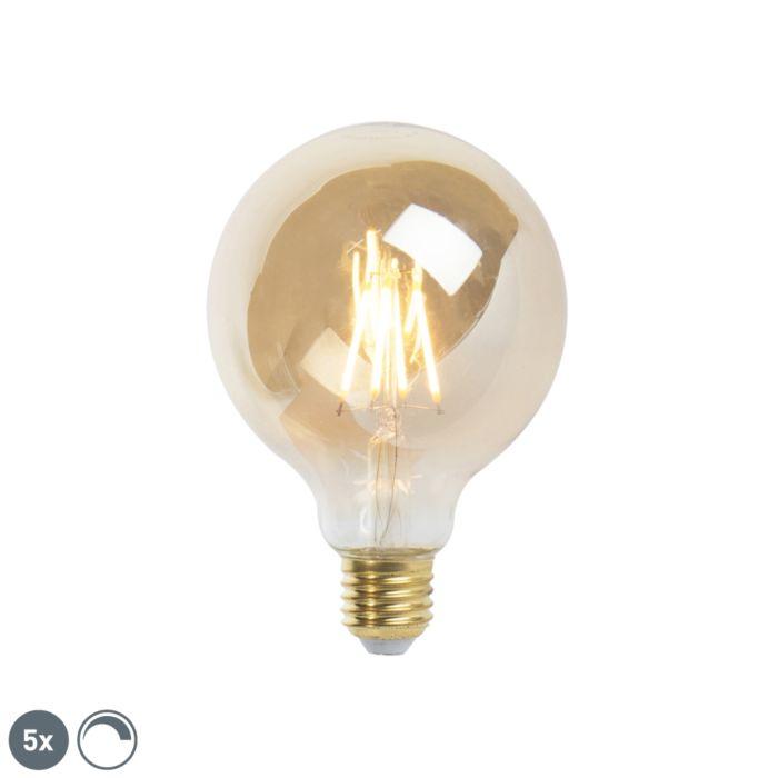 Uppsättning-av-5-E27-dimbar-LED-glödlampa-9,5-cm-5W-360-lumen-2200K