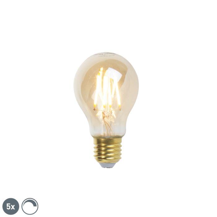 Uppsättning-av-5-E27-dimbara-LED-glödlampor-goldline-360lm-2200K