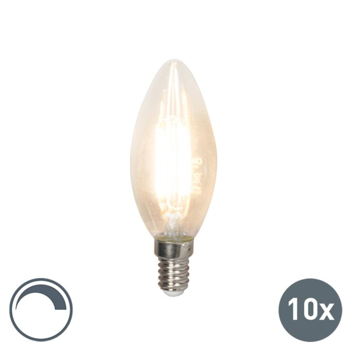Uppsättning-av-10-LED-glödlampor-E14-240V-3.5W-350lm-B35-dimbar