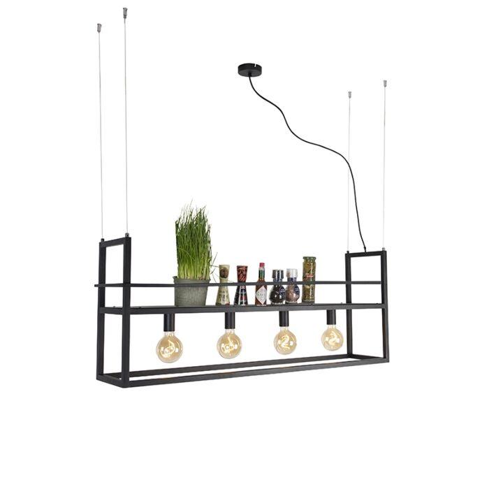 Industriell-hänglampa-svart-med-rack-stora-4--lampor---Cage-Rack