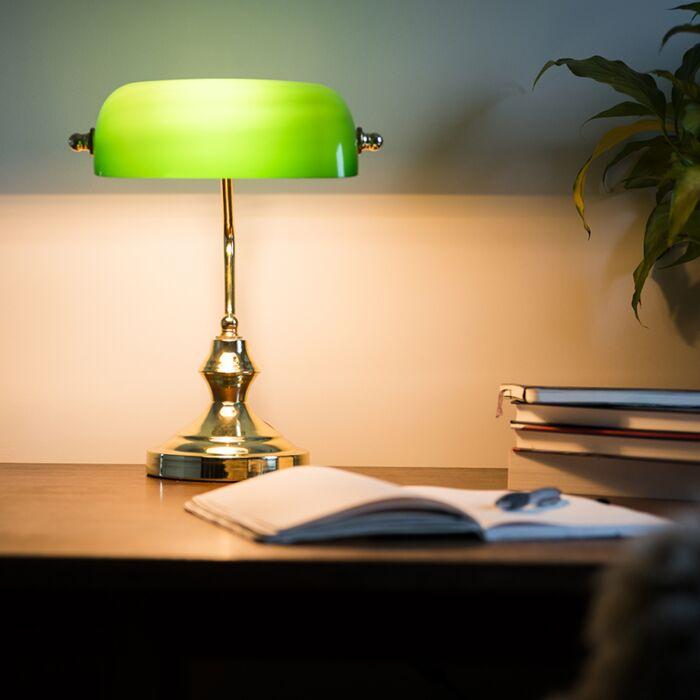Bankirlampa 'Banker' Retro guld Passande för LED Inomhus