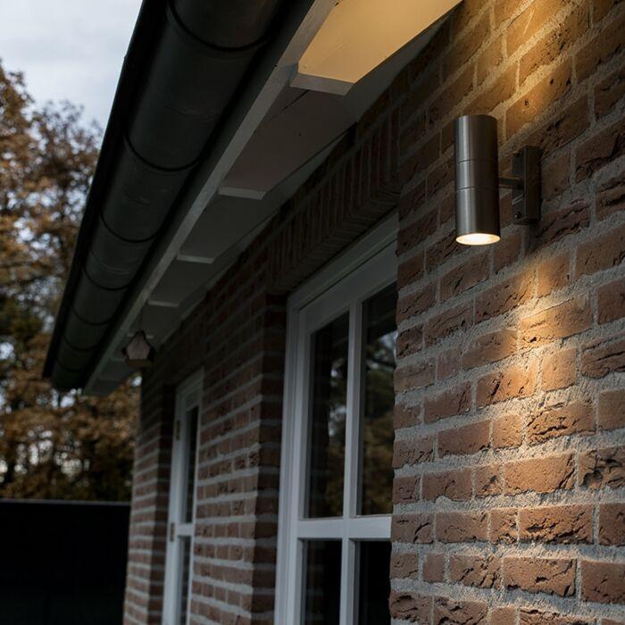 Vägglampa-'Duo'-Moderna-rostfritt-stål---Passande-för-LED-/-Utomhuslampa