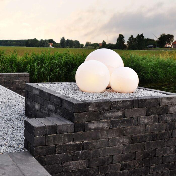 Trädgård-strålkastare-med-spett-'Ball-20-Spike'-Moderna-vit/polyester---Passande-för-LED-/-Utomhuslampa