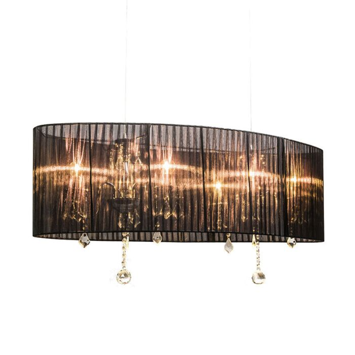 Takkrona-med-skärm-'Ann-Kathrin-100'-Klassisk-svart/tyg---Passande-för-LED-/-Inomhus