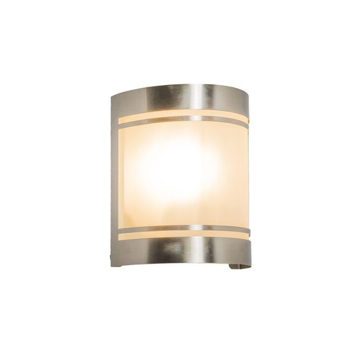 Vägglampa-'Boston'-Moderna-rostfritt-stål---Passande-för-LED-/-Utomhuslampa