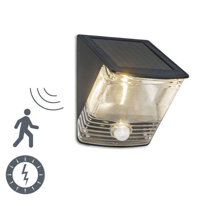 Vägglampa-med-rörelsedetektor/sensor-på-solcell-'Dark-2'-Moderna-svart/polyester---LED-inkluderat-/-Utomhuslampa