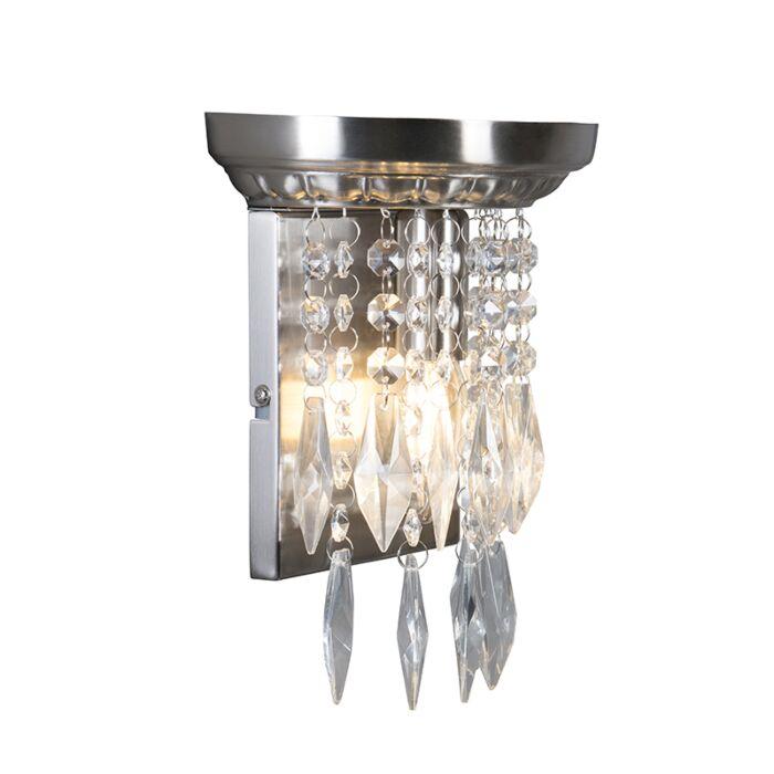Vägglampa-'jelly'-Klassisk-stål/glas---Passande-för-LED-/-Inomhus