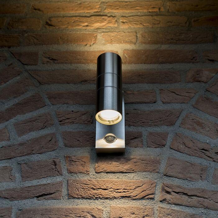 Vägglampa-med-rörelsedetektor/sensor-'Duo'-Moderna-stål---Passande-för-LED-/-Utomhuslampa