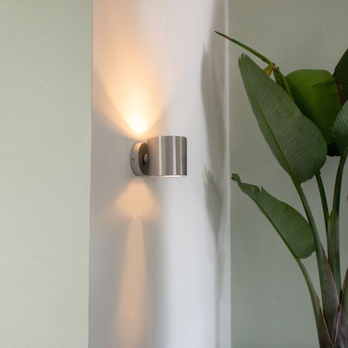 Modern-vägglampa-aluminium-rund---Effekt