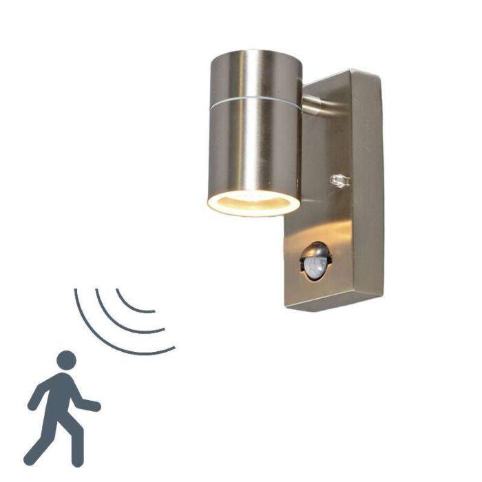 Vägglampa-med-rörelsedetektor/sensor-'Solo'-Moderna-stål---Passande-för-LED-/-Utomhuslampa