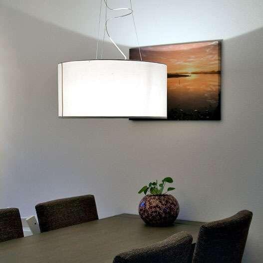 Taklampa-med-skärm-'Drum-60'-Moderna-benvit/tyg---Passande-för-LED-/-Inomhus