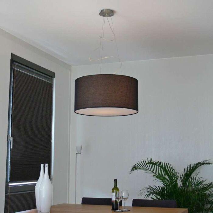 Taklampa-med-skärm-'Drum-60'-Moderna-svart/tyg---Passande-för-LED-/-Inomhus
