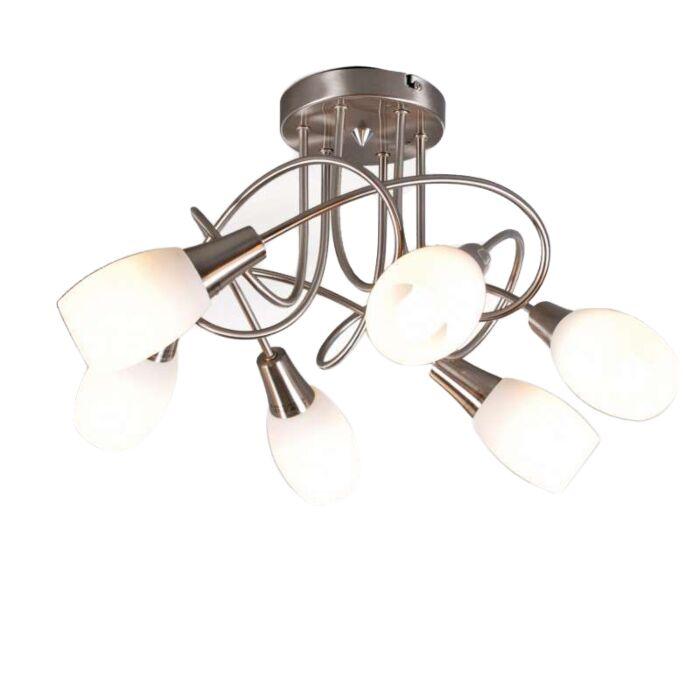 Plafond-'Andrea-6'-Moderna-stål---Passande-för-LED-/-Inomhus