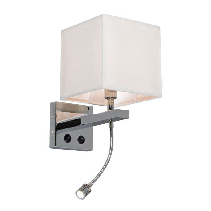 Vägglampa-med-skärm-'Brescia'-Design-benvit/tyg---Passande-för-LED-/-Inomhus