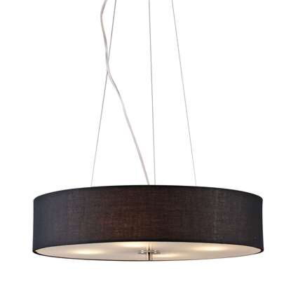 Taklampa-'Drum-50-Short'-Moderna-svart/tyg---Passande-för-LED-/-Inomhus
