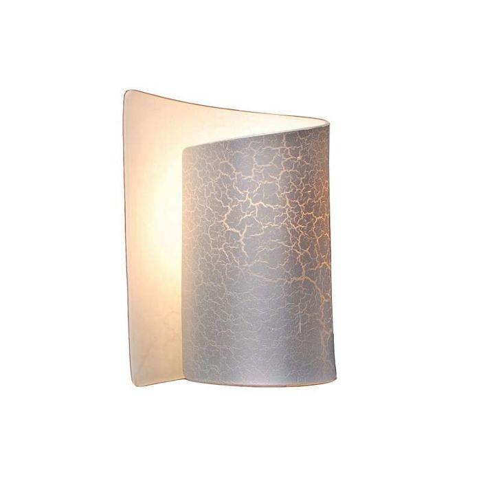 Vägglampa-'Salerno'-Design-stål/glas---Passande-för-LED-/-Inomhus