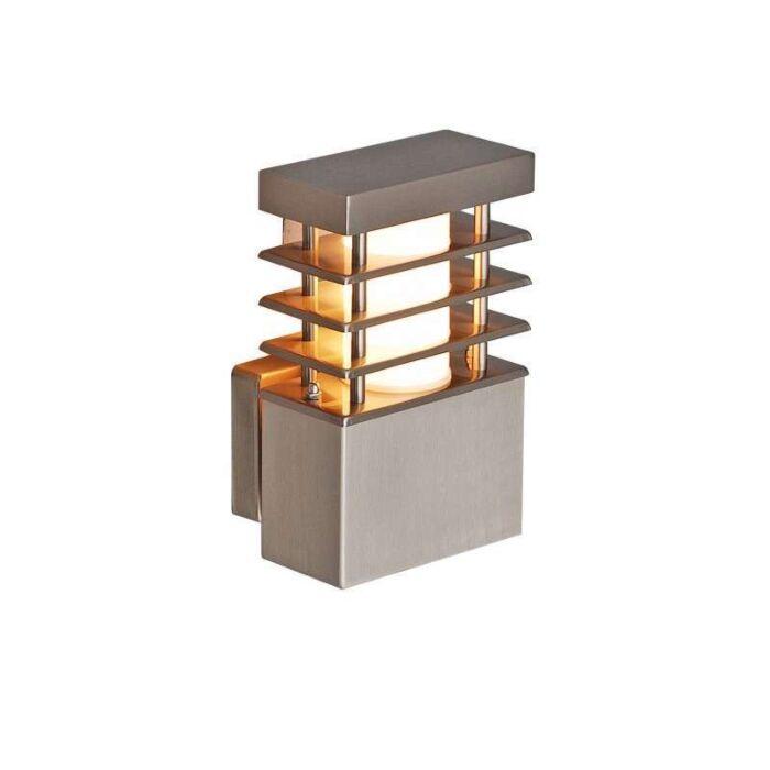 Vägglampa-'Norton'-Moderna-rostfritt-stål---Passande-för-LED-/-Utomhuslampa