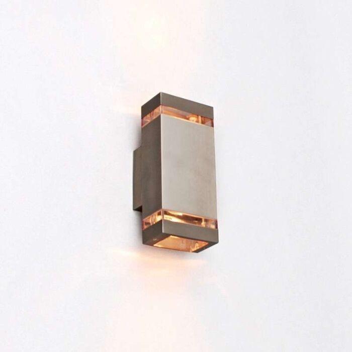 Vägglampa-'Montana-2'-Moderna-rostfritt-stål---Passande-för-LED-/-Utomhuslampa