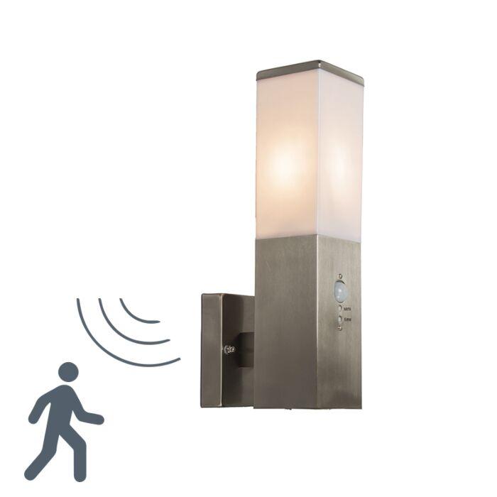 Vägglampa-med-rörelsedetektor/sensor-'Malios'-Moderna-rostfritt-stål-Utomhuslampa