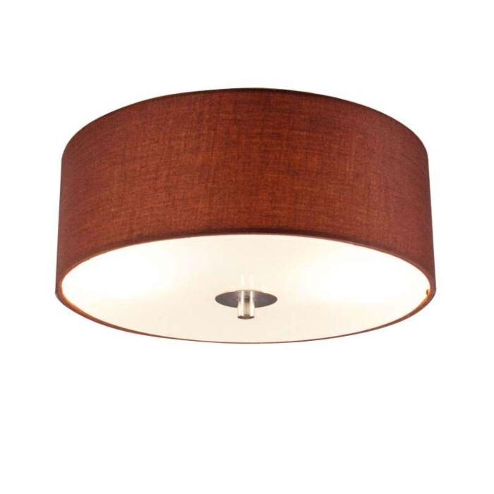 Plafond-med-skärm-'Drum-30-R'-Moderna-brun/tyg---Passande-för-LED-/-Inomhus