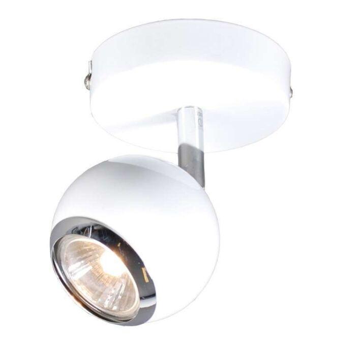 Vägg-och-plafond-strålkastare-'Buell-1'-Retro-vit/metall---Passande-för-LED-/-Inomhus
