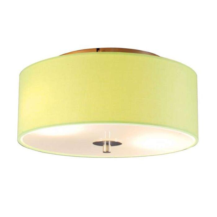Plafond-med-skärm-'Drum-30-R'-Moderna-grön/tyg---Passande-för-LED-/-Inomhus