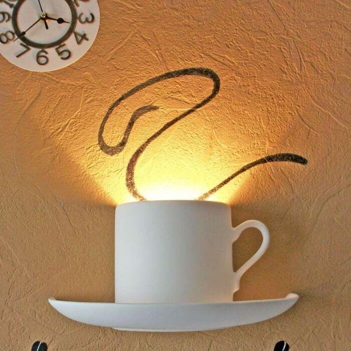 Vägglampa-'Gipsy-Coffee'-Moderna-vit/gips---Passande-för-LED-/-Inomhus