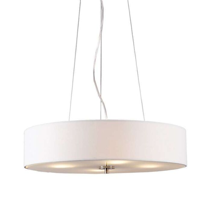 Taklampa-'Drum-50-Short'-Moderna-vit/tyg---Passande-för-LED-/-Inomhus