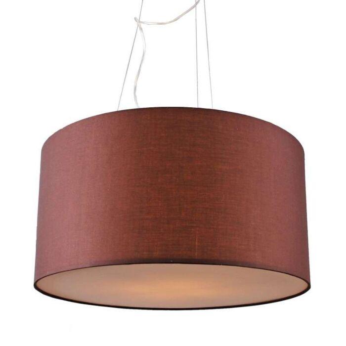 Taklampa-med-skärm-'Drum-60'-Moderna-brun/tyg---Passande-för-LED-/-Inomhus