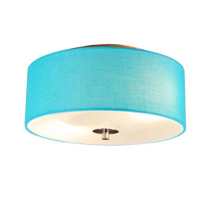 Plafond-med-skärm-'Drum-30-R'-Moderna-blå/tyg---Passande-för-LED-/-Inomhus