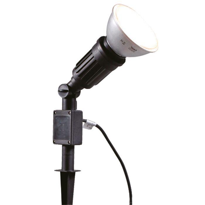 Trädgård-strålkastare-med-spett-'Par-38'-Moderna-svart/polyester---Passande-för-LED-/-Utomhuslampa