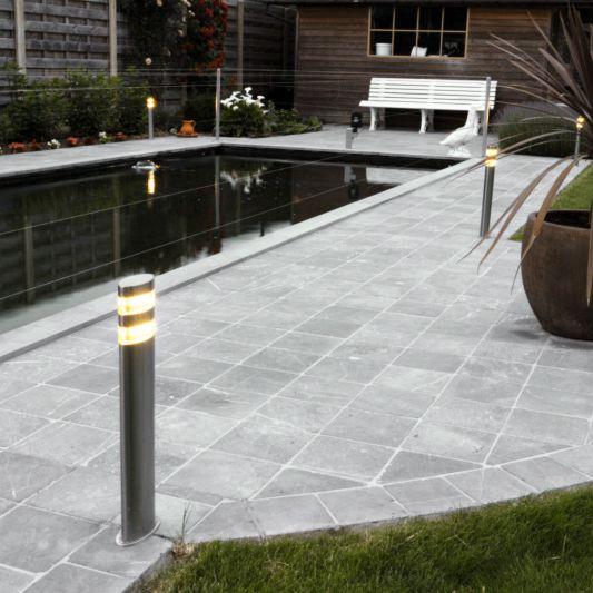 Lykta-till-gång-och-terrass-'Delta-50'-Moderna-stål---LED-inkluderat-/-Utomhuslampa