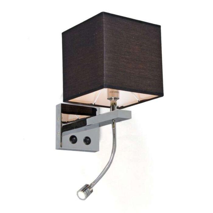 Vägglampa-med-skärm-'Brescia'-Moderna-svart/tyg---Passande-för-LED-/-Inomhus