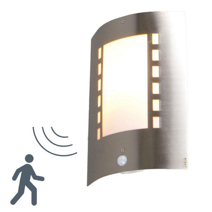 Vägglampa-med-rörelsedetektor/sensor-'Emmerald'-Moderna-stål---Passande-för-LED-/-Utomhuslampa