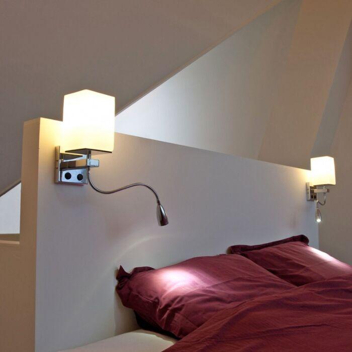 Vägglampa-med-läslampa-'Brescia'-Moderna-krom---Passande-för-LED-/-Inomhus