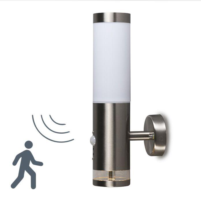 Vägglampa-med-rörelsedetektor/sensor-'Rox'-Moderna-stål---Passande-för-LED-/-Utomhuslampa